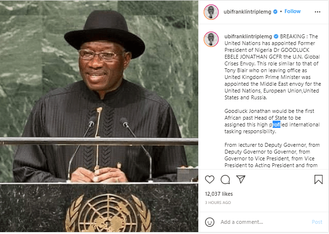 United Nations Give Ex-President Goodluck Jonathan New Appointment