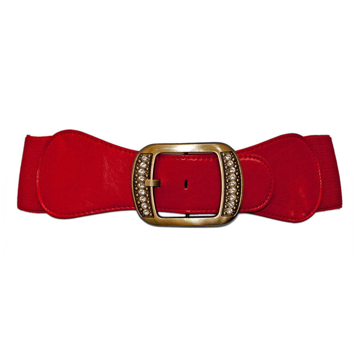 Plus Size Rhinestone Studded Burnished Buckle Elastic Belt Red Photo 1