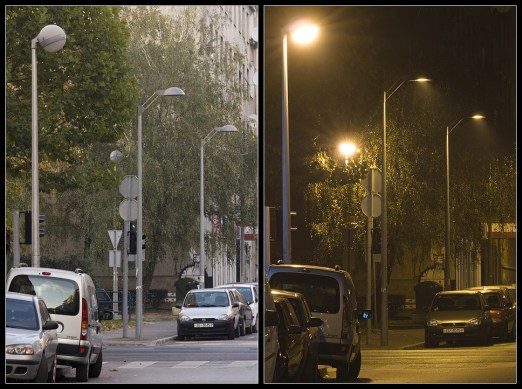 Ekološka i neekološka rasvjeta u Grahorovoj ulici (ZG).