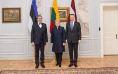 Prezidentūra paskelbė: Baltijos šalių vienybė – pavyzdys Europai. Nuotraukoje prezidentės susitikimas su Latvijos ir Estijos prezidentais. Nuotr. prezidentas.lt