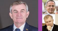 Seimo pirmininkas V. Pranckietis (kairėje). Už violetinio stulpo dešinėje– dažnai su Rusija siejami konservatoriai.