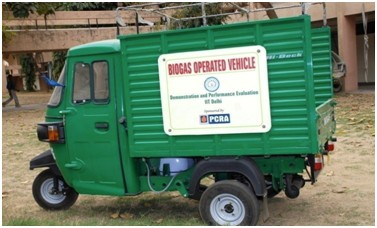 A biogas operated vehicle at IIT Delhi