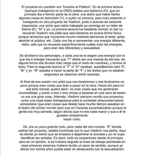 Vladimir Vera acusado de abuso sexual teatro chile venezuela