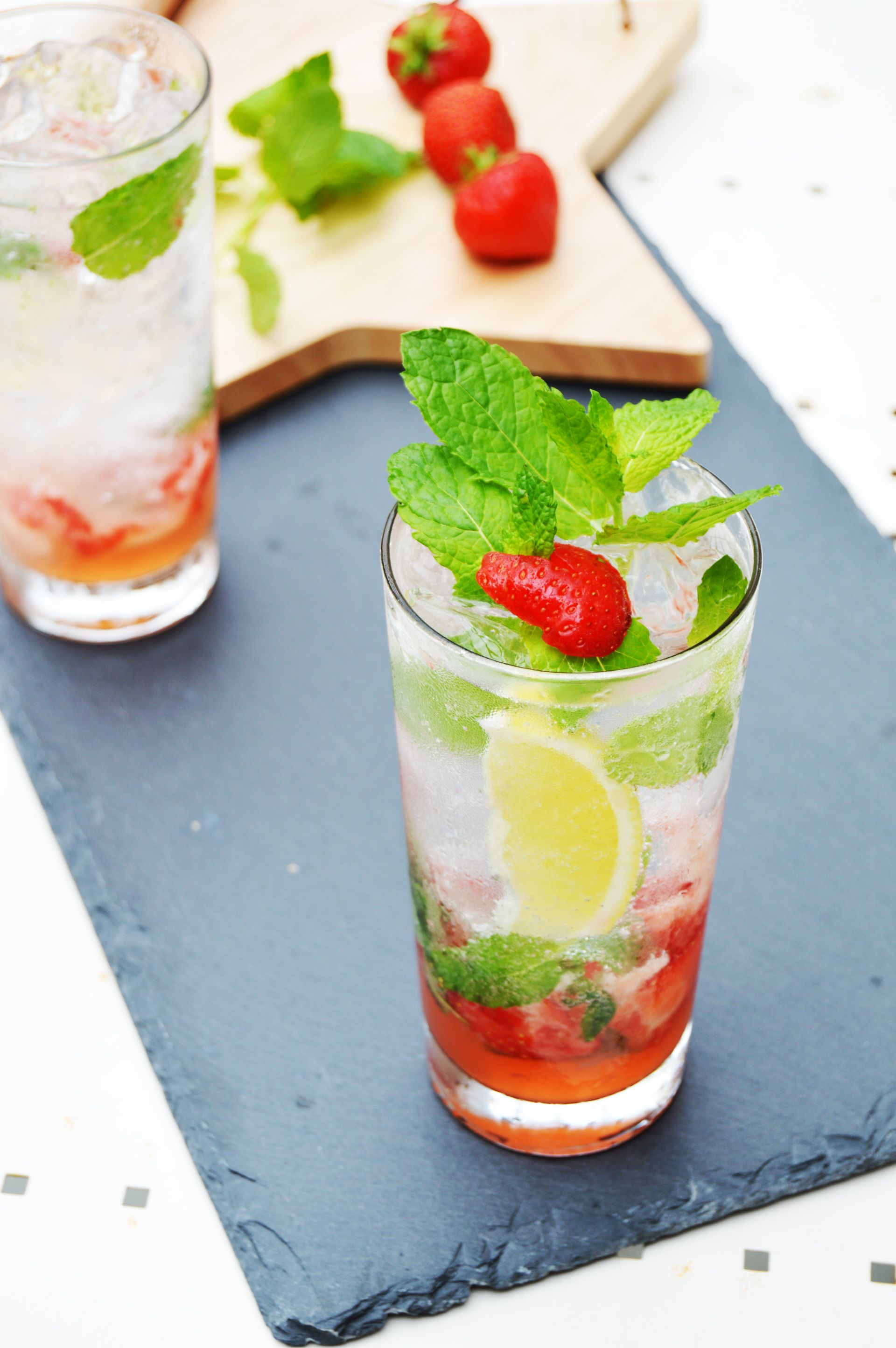 Virgin Strawberry Mojito is perfect summer cocktail. It is refreshing and it is a guild free drink.