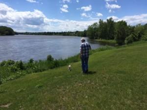 Mocha and Steve walking on the Hudson River