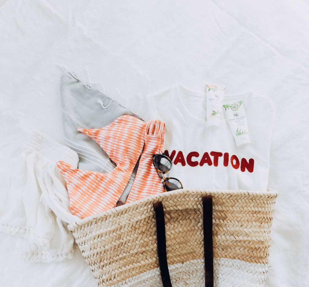 Travel Flatlay | What's In My Bag | Madewell VACATION tank | Midori Biknis | Turkish Towel | Aerie White Off The Shoulder Top | Thank Me Later Reef Safe Sunscreen | What To Pack | Travel Must Haves via @elanaloo + elanaloo.com