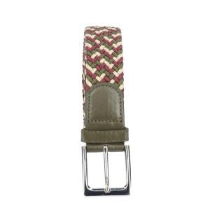 Gevlochten elastische riem, stretch riem heren en dames driekleurig beige wijnrood olijfgroen