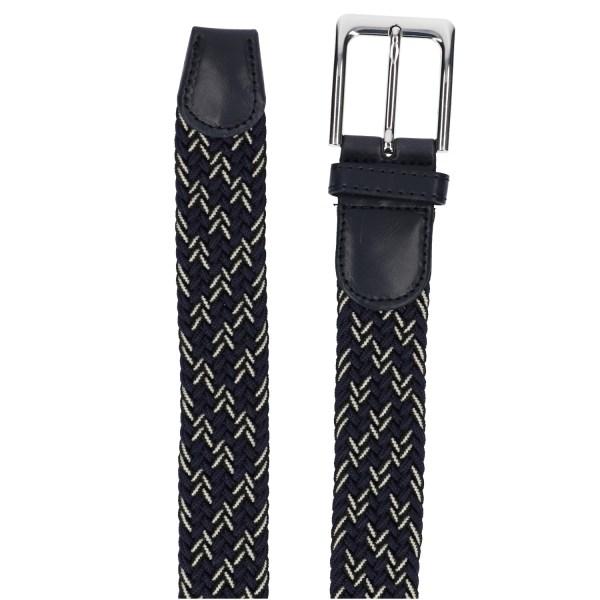 Gevlochten elastische riem, stretch riem heren en dames driekleurig marineblauw zwart wit detail