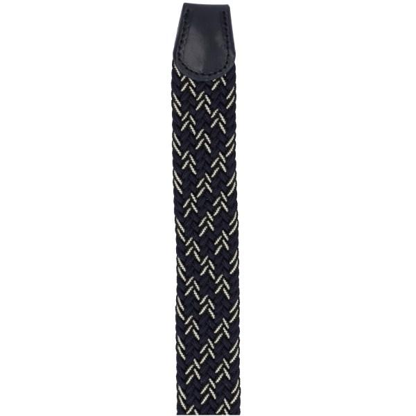 Gevlochten elastische riem, stretch riem heren en dames driekleurig marineblauw zwart wit eind