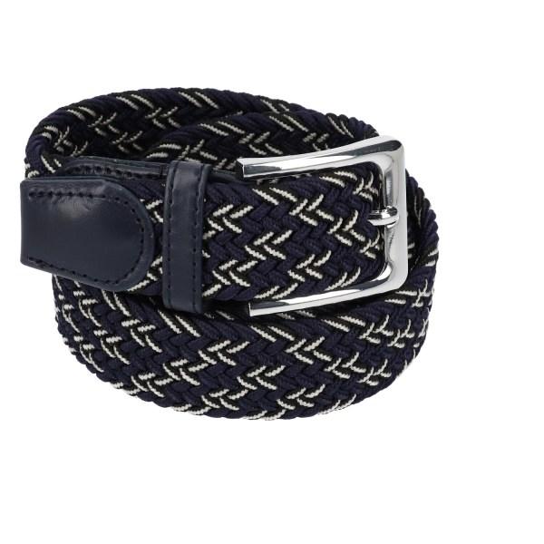 Gevlochten elastische riem, stretch riem heren en dames driekleurig marineblauw zwart wit voor