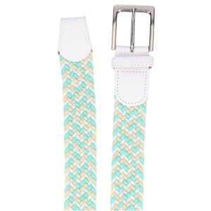 Gevlochten elastische riem, stretch riem heren en dames driekleurig turquoise wit beige detail