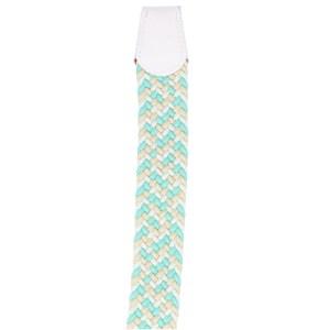 Gevlochten elastische riem, stretch riem heren en dames driekleurig turquoise wit beige eind