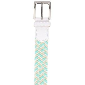 Gevlochten elastische riem, stretch riem heren en dames driekleurig turquoise wit beige gesp