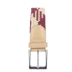 Gevlochten elastische riem, stretch riem heren en dames indianer design beige wijnrood