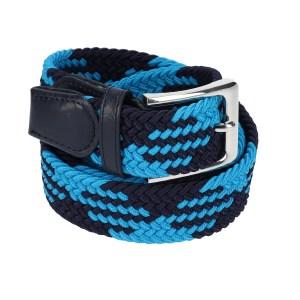 Gevlochten elastische riem, stretch riem heren en dames indianer design lichtblauw marineblauw voor