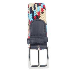 Gevlochten elastische riem, stretch riem heren en dames indianer design rood lichtblauw donkerbruin marineblauw beige