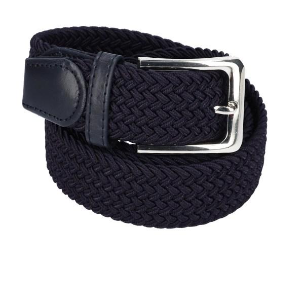 Gevlochten elastische riem, stretch riem heren en dames marineblauw voor