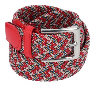 Gevlochten elastische riem, stretch riem heren en dames rood gekelurd met witte stippen voor