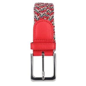 Gevlochten elastische riem, stretch riem heren en dames rood gekelurd met witte stippen