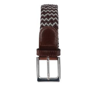 Gevlochten elastische riem, stretch riem heren en dames tweekleurig bruin lichtgrijs