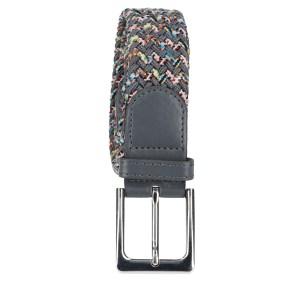 Gevlochten elastische riem, stretch riem heren en dames tweekleurig grijs met stippen grijze gesp