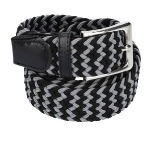Gevlochten elastische riem, stretch riem heren en dames tweekleurig lichtgrijs zwart voor