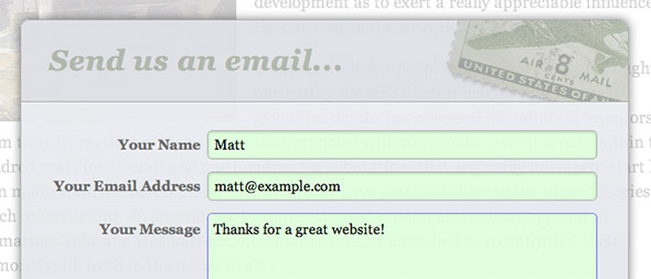 Screenshot of styled form