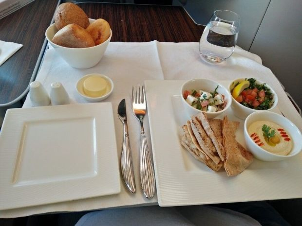 Qatar A380 business menu