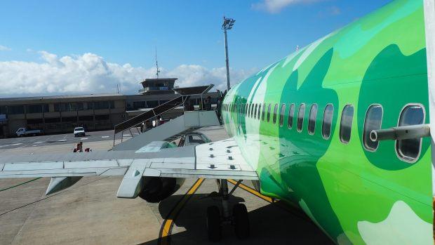 Abordando al 737-400 de Kulula. La originalidad no termina por fuera como ahora veremos