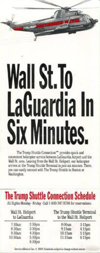 Trump Shuttle Timetable