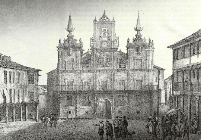 Plaza del Ayuntamiento, Astorga. Dibujo de Parcerisa, s.XIX