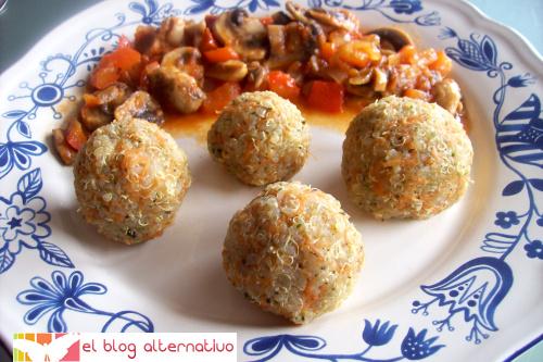bolitasquinoa - quinoa con champiñones en salsa