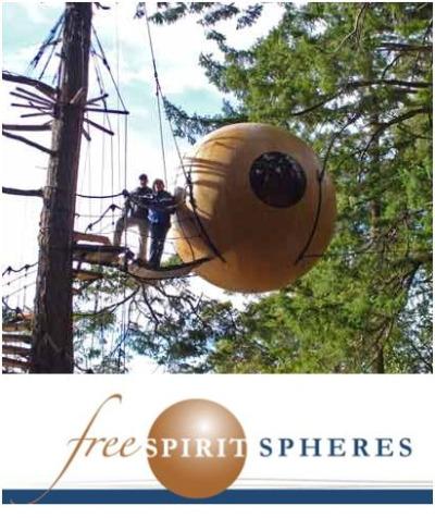 arbol casa - Free Spirit Spheres: otra forma de vivir en los árboles