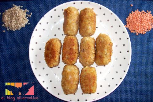 croquetas-arroz y lentejas