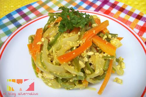 tofu revoltillo - Revoltillo de tofu y verduras