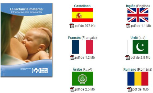 lactancia rioja - Dos buenas guías online de lactancia materna y un folleto en varios idiomas