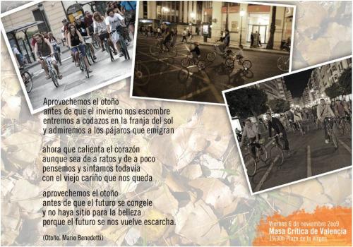 masa critica bici - MASA CRÍTICA: las bicis reclaman sus derechos. Valencia 6 de noviembre del 2009