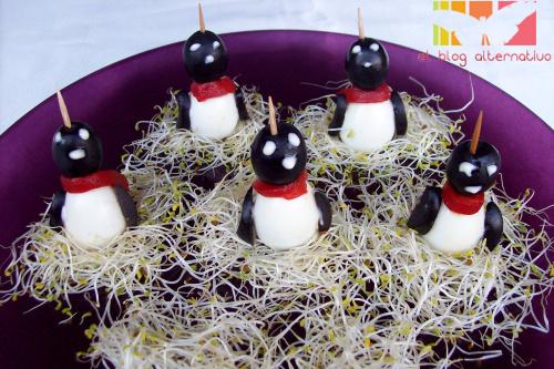 huevos pinguinos para aperitivos