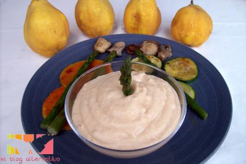 alioli menbrillo1 - Alioli de membrillo con parrillada de verduras