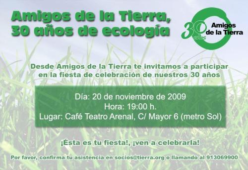 amigos de la tierra - Amigos de la Tierra, celebra 30 años de ecología en España el próximo día 20 de Noviembre en el Café Teatro Arenal de Madrid