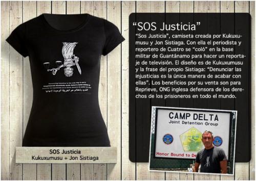 """kukusumusu - """"SOS Justicia"""": la camiseta de Kukuxumusu con la que el periodista Jon Sistiaga """"se coló"""" en Guantánamo"""