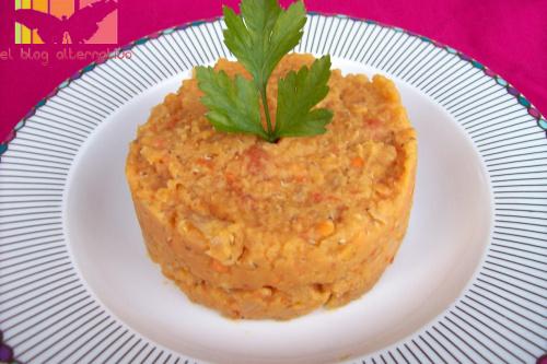 lentejas rojas2 - Lentejas naranjas con tomates, cebolla y un toque de jengibre
