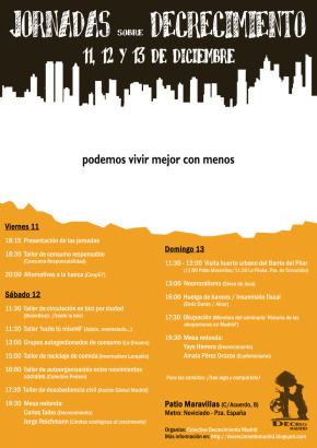 decrecimiento madrid - Jornadas y asambleas de decrecimiento en Bilbao, Petrer (Alicante) y Madrid del 10 al 13 de diciembre del 2009