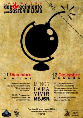 decrecimiento petrer - Jornadas y asambleas de decrecimiento en Bilbao, Petrer (Alicante) y Madrid del 10 al 13 de diciembre del 2009