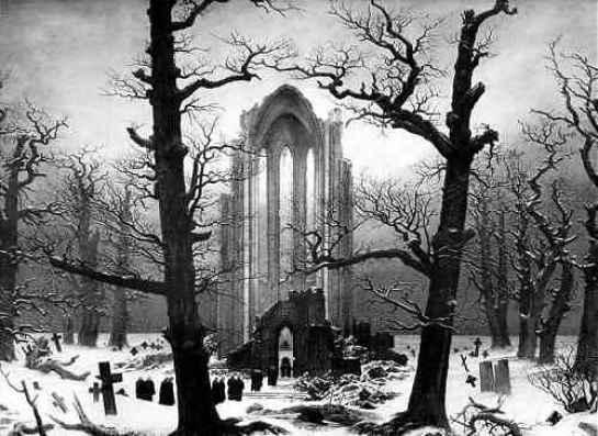 caspar david friedrich - WINTERREISE, de Franz Schubert: es invierno por fuera y por dentro