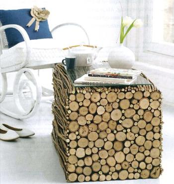mesita - 5 ideas para decorar con troncos y ramas