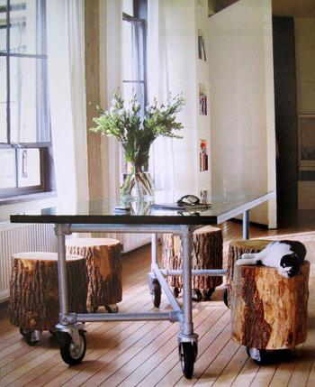 taburetes troncos con ruedas - 5 ideas para decorar con troncos y ramas