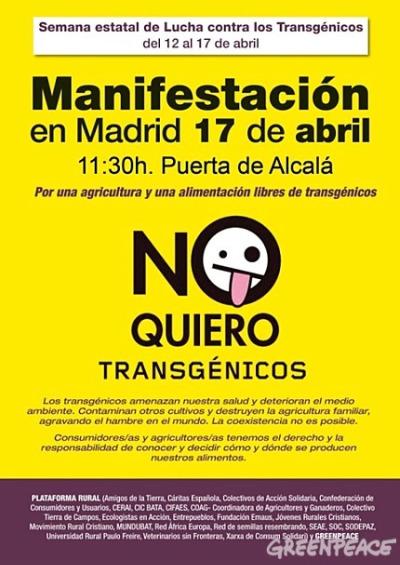 cartel de la manifestaci n con 41 - manifestacion contra transgénicos