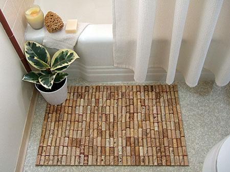 alfombra de bano de tapones de corchos - Ideas para decorar con corchos