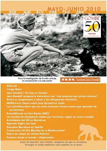 """boletin - Calendario de agosto de Jane Goodall, boletín y entrevista: """"La Naturaleza es como una orquesta que pierde músicos"""""""